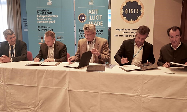 Photo representatives from OISTE.ORG, SUCAFINA, PMI Internacional, WISeKey and Zermat Summit during the signing ceremony